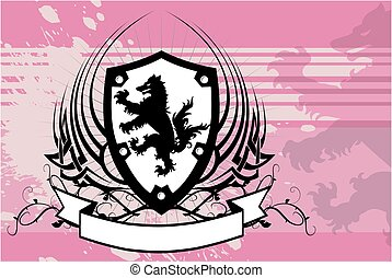 heraldic wolf coat of arms shield tattoo background