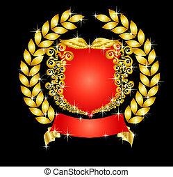 heraldický, chránit, s, korunovat vavřínem kotouč