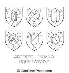 heraldik, ikonen, med, värdefulla stenar, del, 2