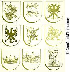 heraldik, sätta