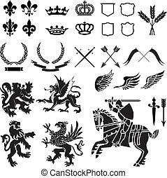 heraldik, sæt, ornamentere