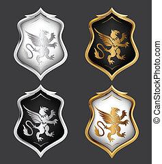 heraldik, skjolde, set., vektor