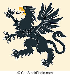 heraldisch, black , griffin