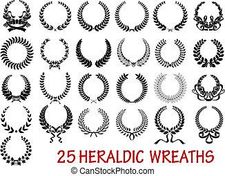 heraldisch, krans, laurier, set