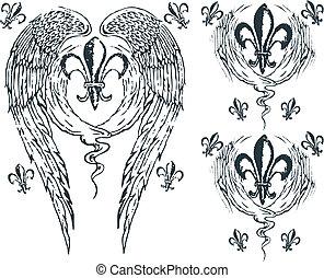heraldisch, royalty, vleugel