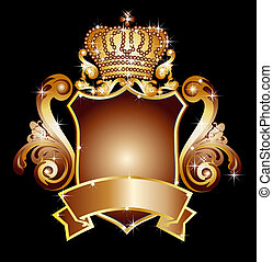 heraldisch, spandoek, schild, leeg