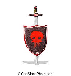 heraldisch, spotprent, schedel, schild