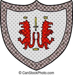 heraldisch, spotprent, schild