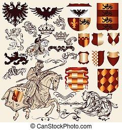 heraldisch, vector, eleme, verzameling