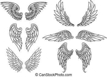 heraldisch, vleugels, set