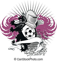 heraldisch, voetbal, leeuw, crest2