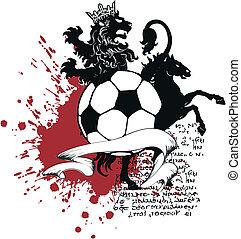 heraldisch, voetbal, leeuw, crest6