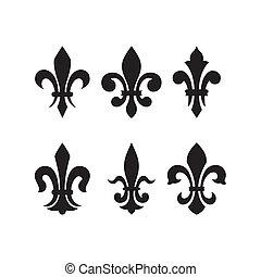heraldisk, av, symbol, fleur, läsidor