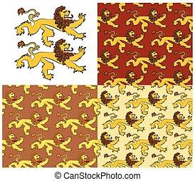 heraldisk, beräknar, lejon