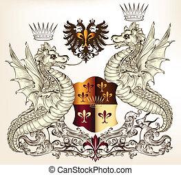 heraldisk, design, drakar