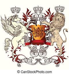 heraldisk, design, skydda