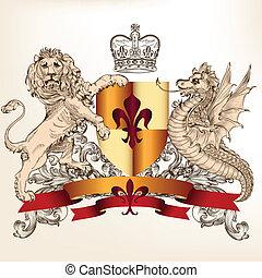 heraldisk, design, skydda, lejon