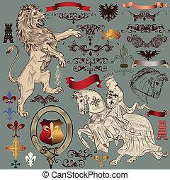 heraldisk, eleme, design, kollektion