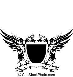 heraldisk, grunge, skydda, påskyndar