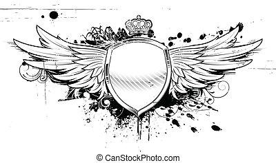 heraldisk, grunge, skydda