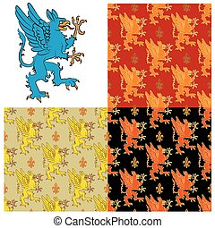 heraldisk, mystisk, figur, djur