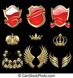 heraldisk, sätta, elementara
