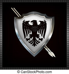 heraldisk, skydda, och, spears.