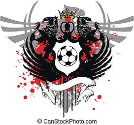 heraldisk, täcka, vapen, fotboll, 1
