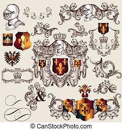 heraldisk, vektor, eleme, kollektion