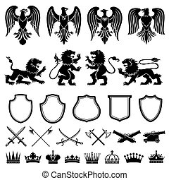 heraldisk, vektor, sätta, elementara