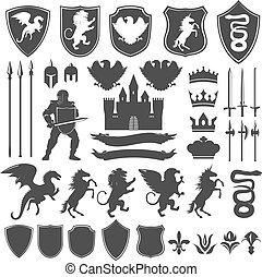 Heraldry Decorative Graphic Icons Set