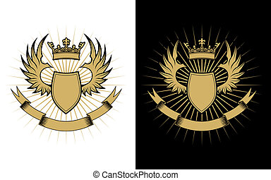 Heraldry elements with wings and ribbons for design
