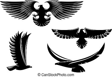 Heraldry eagle symbols and tattoo isolated on white