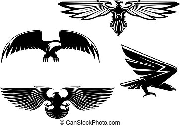 Heraldry eagles - Set of heraldry eagles, hawks and falcons...
