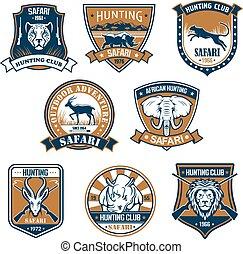 Heraldry icons of wild safari animals - Hunting sport club...