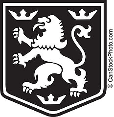 Heraldry Lion - Medieval coat of arms lion with crowns on a...