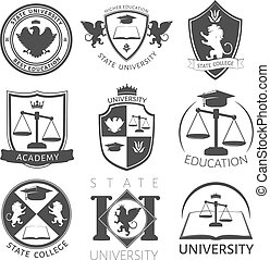 Heraldry Of University Black White Emblems