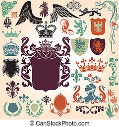 Heraldry Ornament Set - Heraldry Icon Vector Set. Colors are...
