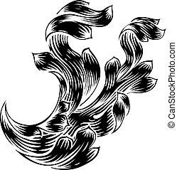 Heraldry Scroll Floral Filigree Design