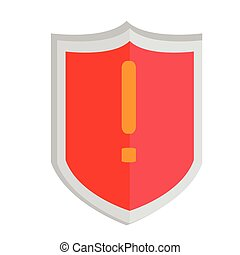 Heraldry shield with a warning symbol