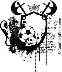 heraldyczny, piłka nożna, crest9, lew
