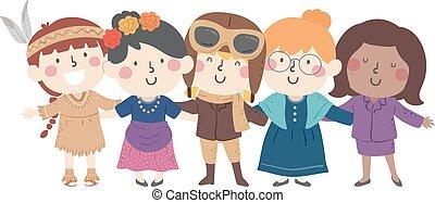 herança, mulher, crianças, traje, meninas, nacional