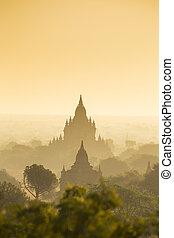 herança, paisagem, pagode, mundo, myanmar., bagan, 4