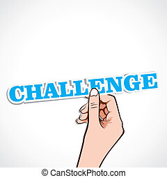 herausforderung, wort, hand
