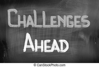 herausforderungen, begriff, voraus