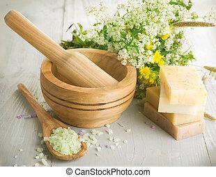 herbário, cosmetics., produtos, spa