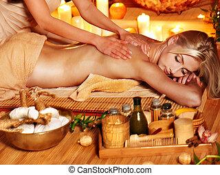 herbário, mulher, massagem, bola, obtendo