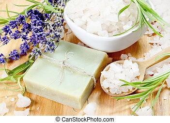 herbário, sabonetes, sal grosso, e, lavanda