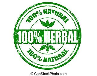 herbário, selo, 100%