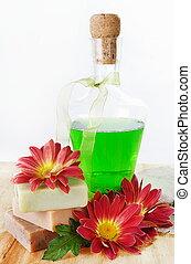 herbário, shampoo, e, sabonetes, com, flores